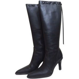 Coach Bella Knee High Black Leather Boots